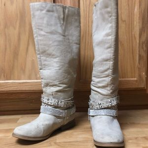 Off White Knee High Sequin Boots